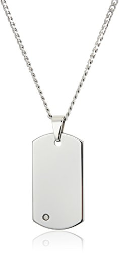 (Crucible Jewelry Mens Tungsten Carbide Diamond Dog Tag Curb Chain Pendant Necklace, 24-Inch, White)