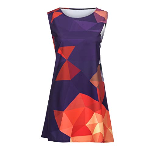 (Sagton Dress Vintage Boho Women Summer Sleeveless Beach Printed Short Mini Dress Red)