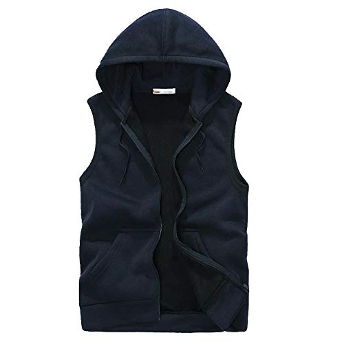 Swiss Army Insulated Vest - Men Autumn Winter Hooded Coat Padded Cotton Vest AmyDong Thick Vest Tops Jacket Blouse(Navy,M)
