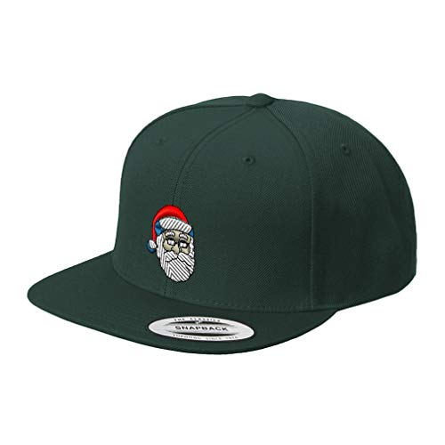 Snapback Baseball Hat Santa Claus Embroidery Christmas Wishes Acrylic Cap Snaps - Spruce Green, Design -