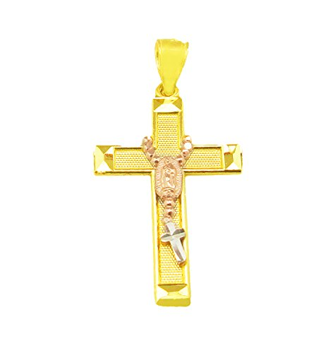 AMZ Jewelry 10K Yellow Gold Rose Gold Two Tone Cross with ()
