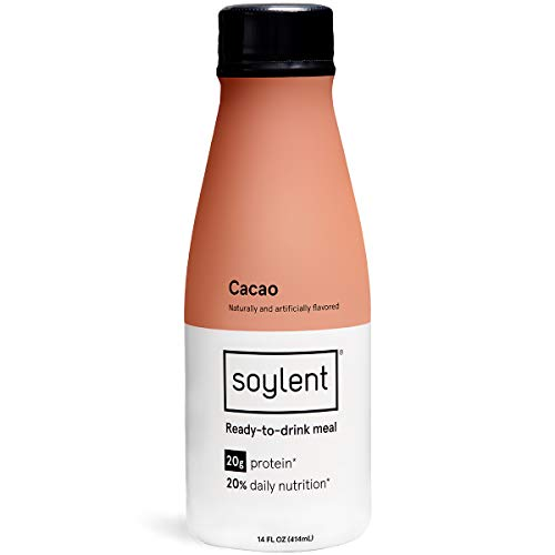 Cacao Soylent Meal Replacement Shake, Cacao, Complete Meal in a Bottle, 20g Plant Protein, 14 oz Bottles, 12 Pack (Best Weight Loss Shakes In Stores)