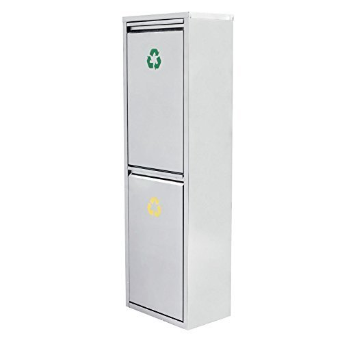 Songmics 30L Edelstahl Recycling Mülleimer Mülltrenner Abfalleimer Abfallbehälter mit zwei Inneneimer 99,5 x 31,5 x 20,5 cm LTB31L
