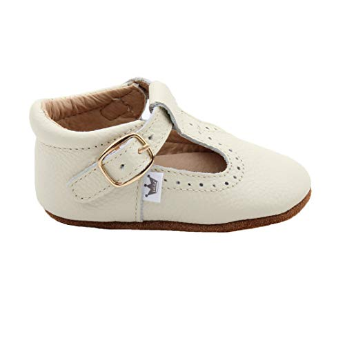 Liv & Leo Baby Girls Mary Jane T-bar T-Strap Oxford Soft Sole Crib Shoes Leather (12-18 Months, Cream) ()