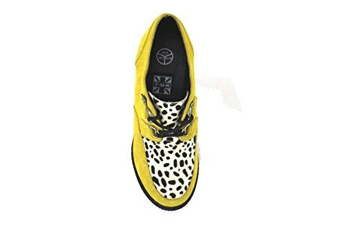 T.U.K. Tuk - Zapatos de Vestir de Ante Para Mujer Negro Negro/Amarillo