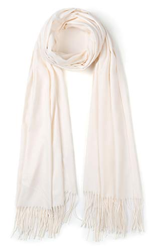 Cindy & Wendy Large Soft Cashmere Feel Pashmina Solid Shawl Wrap Scarf for Women (Pure White)