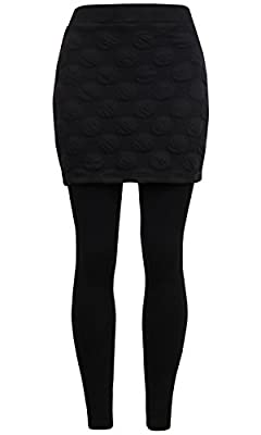 ililily Active Performance Stretch Leggings W/ Thick Embossed Dot Flare Skirt