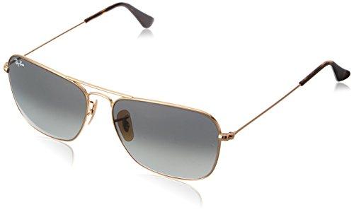 - Ray-Ban RB3136 Caravan Square Sunglasses, Gold/Grey Gradient, 58 mm