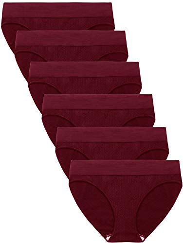 Areke Womens 6 Pack Seamless Low-Rise Bikini Panties, Soft Stretch No Show Hipster Brief Underwear for Ladies Color Maroon 6 Packs Size M