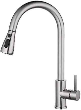 Pull out Kitchen Faucet,Single Level Stainless Steel Kitchen Sink Faucet with Pull Down Sprayer Brushed Nickel