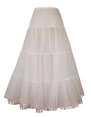 Women's Ankle Length Petticoat Crinoline Underskirt for Long Dress (M-L, Ivory) ()
