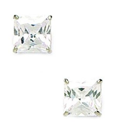 14k White Gold 7mm Square CZ Screwback Earrings - (Jewelryweb Sterling Silver Square)