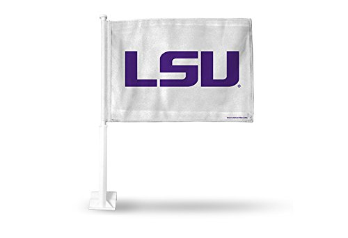 Rico NCAA LSU Tigers Car Flag, White, with White Pole