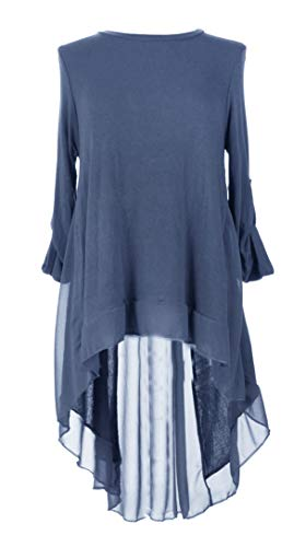 Blue Hi Cornflower Blouse Back Ladies Chiffon Italian Split Knitted Top Women One Tunic Lagenlook Low Size Jumper YwRaxRUq
