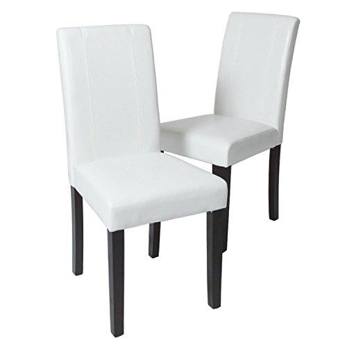 GTU Furniture Set Of 2 Pu Leather Elegant Modern Dining U0026 Kitchen Chairs  (White)