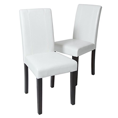 GTU Furniture Set of 2 Pu-Leather Elegant Modern Dining & Kitchen Chairs (White)