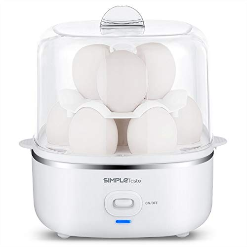 SimpleTaste Automatic Electric Cooker for Hard or Soft Boiled, Poached Eggs, Omelets and Steamed Foods, 2 Tiered, 10 Capacity, White