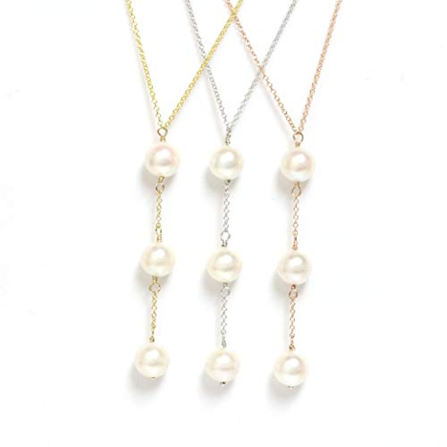 14k Gold - Saltwater Cultured Akoya Pearl Y Necklace Adjustable Chain up to 18
