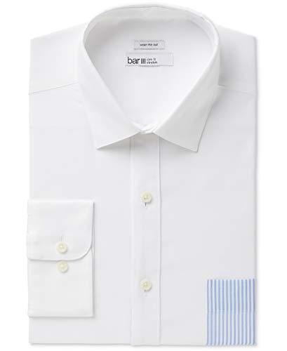 (bar III Mens Blue Medium Pinstriped Pocket Dress Shirt White M)