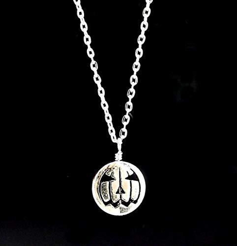 Autumn Brass Lantern - Silver Toned Metal Jack O Lantern Pendant Necklace for Halloween