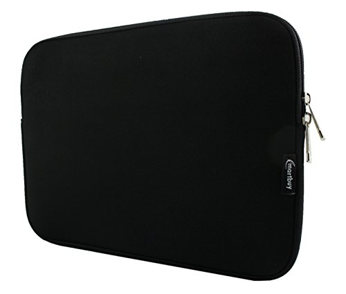 Emartbuy Midnight Black/Black Water Resistant Neoprene Soft Zip Case Cover Sleeve with Black Interior and Zipper 13.3-14.1 Inch Suitable for Selected Devices Listed Below