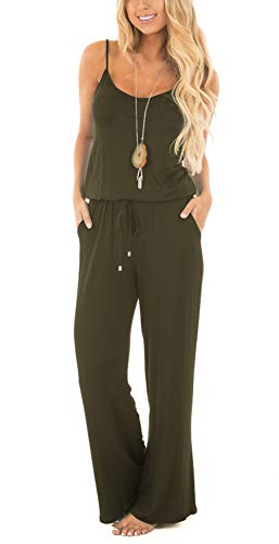Wide Strap Jersey Tank Top - Jug&Po Women Casual Sleeveless Loose Wide Legs Jumpsuit Stretchy Srap Long Pants Romper With Pockets£¨Light Coffee X-Large£