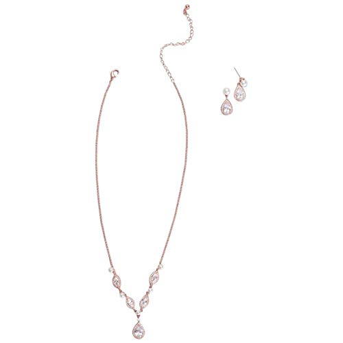 David's Bridal Cubic Zirconia and Pearl Necklace and Earring Set Style 272263, Rose Gold (Pink Bridal Sets Wedding Rings)