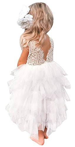 2Bunnies Girl Peony Lace Back A-Line Tiered Tutu Tulle Maxi Flower Girl Dress (White Sleeveless Maxi, 7-8YRS)