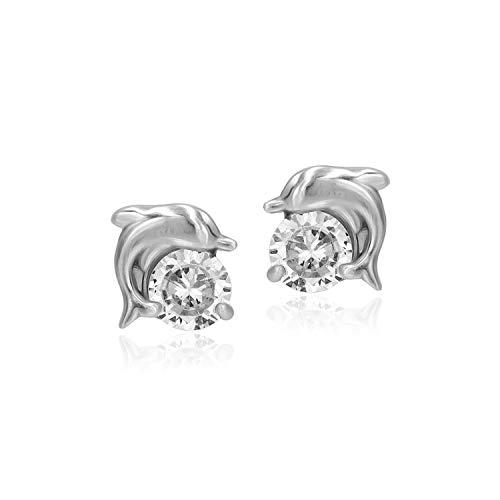 Sea of Ice Sterling Silver 5mm CZ Cubic Zirconia Dolphin Stud Earrings for Women Girls (Sterling Silver)