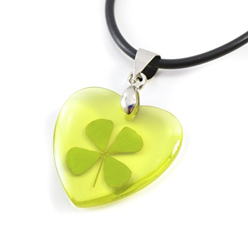 Genuine Real Four-leaf Lucky Clover Shamrock Crystal Amber Pendant Necklace, Transparent Love Heart (Yellow Amber) ()