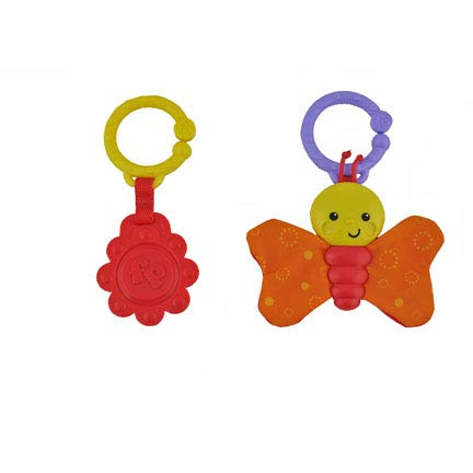 Fisher-Price Sit Me Up Floor Seat Frog Pattern BFB07 - Replacement Toys - Crinkle Butterfly and Plastic Teether Sun