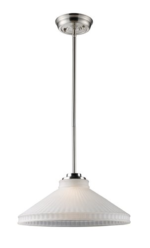 Elk 66324-1 Restoration 1-Light Pendant, 6-Inch, Satin Nickel With White Antique Glass