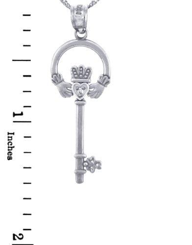 Petits Merveilles D'amour - Collier Pendentif - - 14 ct Or 585/1000 Claddagh Blanc Clé with Diamants (w Chaîne)