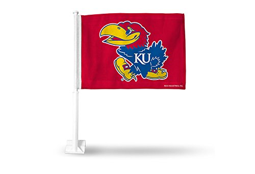 NCAA Kansas Jayhawks Car Flag, Red, with White Pole by Rico