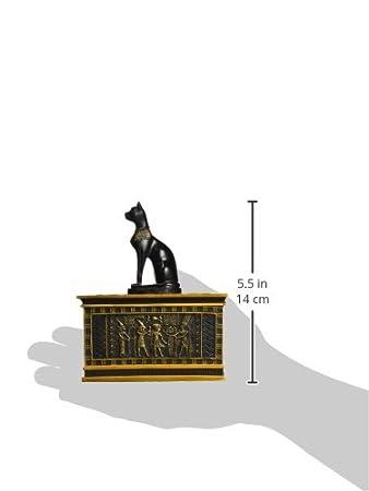 Design Toscano Bo/îte /égyptienne Bastet royal en or et /éb/ène