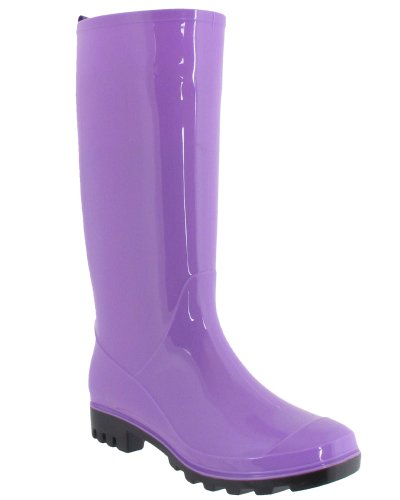 Capelli New York Shiny Solid Ladies Jelly Rain Boot Purple 9