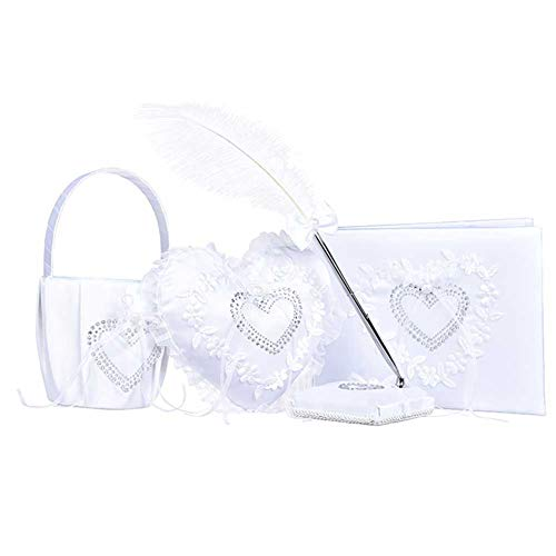 - Youzpin 4 Pcs/Set Romantic Wedding Decoration Set,Wedding Flower Basket + Guest Sign Book+ Ring Pillow + Feather Pen Wedding Props