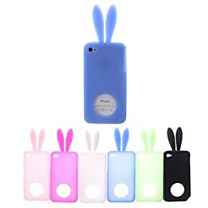 SHOUJIKE Solid Color Rabbit Style Silicone Soft Case with Ears for iPhone 4/4S (Assorted Colors) , Green