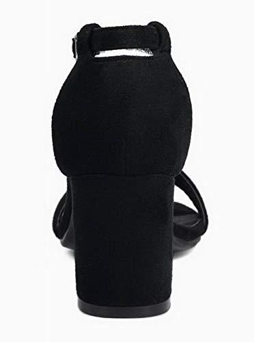 VogueZone009 Heels Sandals CCALP015579 Toe Kitten Buckle Women's Black Open Frosted rqwUgrtv