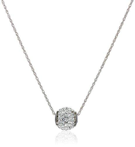 10K White Gold Swarovski Crystals Slide Ball Pendant Necklace with Gold Filled Chain, 18