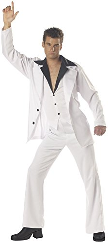 Disco Costumes Male (California Costumes Men's Saturday Night Fever Costume, White/Black, Large)