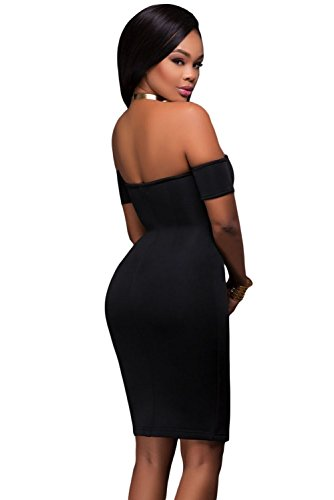 Neue Damen Schwarz Schulterfrei Reißverschluss vorne Bodycon Midi Kleid Club Wear Abend Party Kleid Größe passt UK M 10�?2