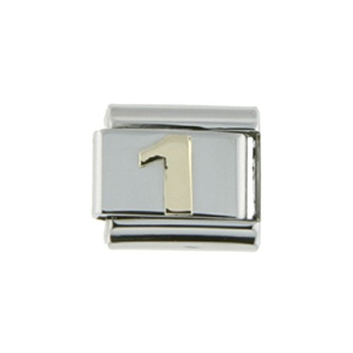Number 1 Italian Charm (Stainless Steel 18k Gold Number 1 Charm for Italian Charm Bracelets 9mm)