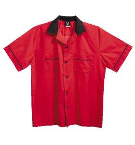 Hilton GM Legend Bowling Shirt44; Red & Black44; Extra Small