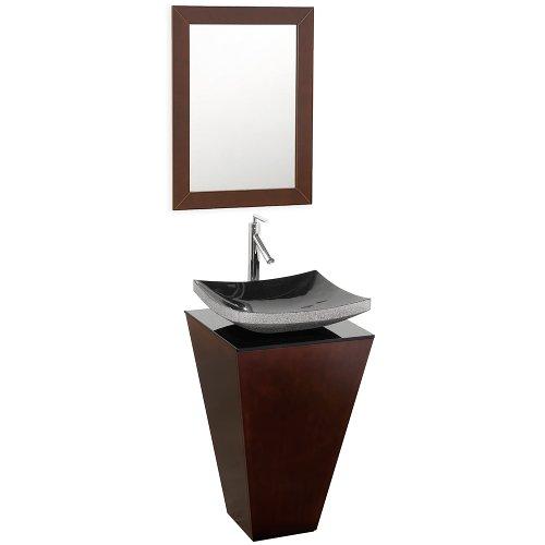 Wyndham Collection Esprit 20 inch Pedestal Bathroom Vanity in Espresso with Smoke Glass Top with Black Granite Sink (Pedestal Granite)
