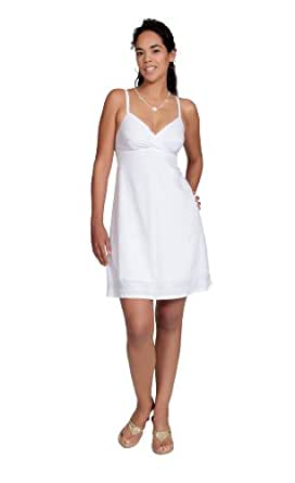 1 World Sarongs Womens Short Lined Summer Dress in White - X-Small