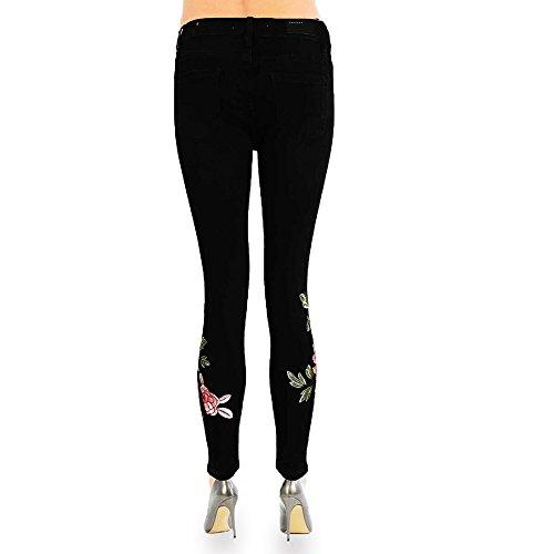 Bottom Donna Xelay Floral Black Skinny Jeans qHvHUg