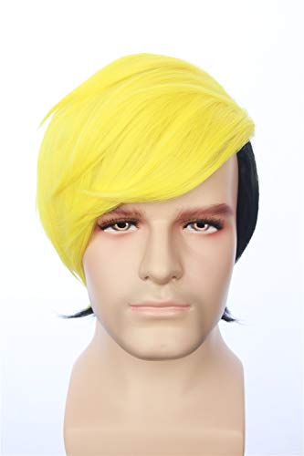 fbewig:Human Bill Cipher Inspired Short Straight Two Tone Layered Yellow Black Wig Anime Cosplay Halloween Costume Wig for Men and Teens ()