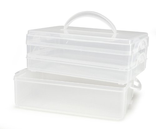 Plastic Art Tool Organizer - Darice 8-1/2-Inch by 5-1/2-Inch by 6.1-Inch Snap and Stack Storage, Set of 3