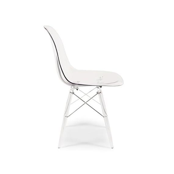 "Stilnovo Mid-Century Eiffel Dining Chair, Clear - 33""H X 20 1/5""W X 18 3/8""D Clear Injected Acrylic Contruction Clear Acryilic and Metal Eiffel Legs - kitchen-dining-room-furniture, kitchen-dining-room, kitchen-dining-room-chairs - 31wBklVzzYL. SS570  -"